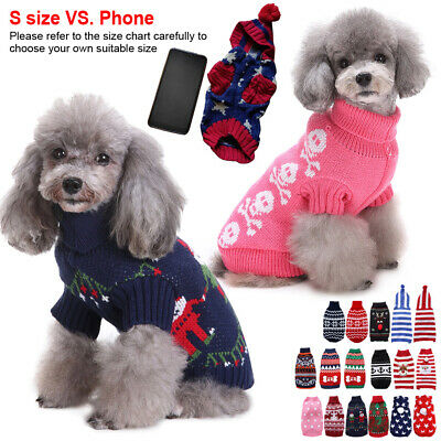 Small Pet Dogs Cat Christmas Chihuahua Coat Jumper Knit Sweater Hoodie Clothes