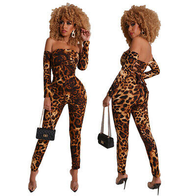 Women Leopard Printed Boat Neck Long Sleeves Back Bandage Bodycon Club Jumpsuit