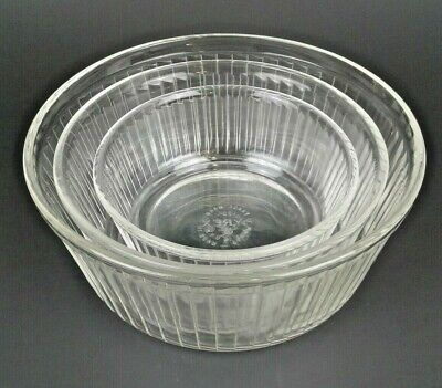 Vintage Pyrex Nesting Mixing Bowls Clear Glass Ribbed Flat Bottom 3 Piece Set