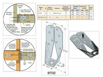 Simpson Strong-Tie DTT2Z-SDS2.5 Deck Tension Tie Z Max