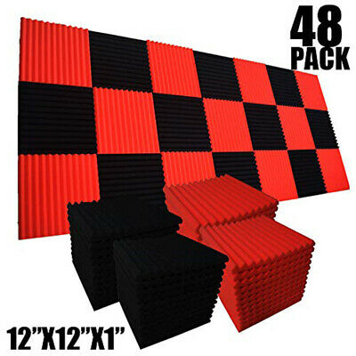 "48 Pack Black & Red 12""X 12""X1"" Studio Soundproofing Foam Wedge Acoustic Panels"