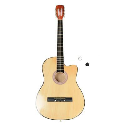 38 Inch Maple 6 Strings Cutaway Acoustic Guitar with Guitar Plectrum Wood Color