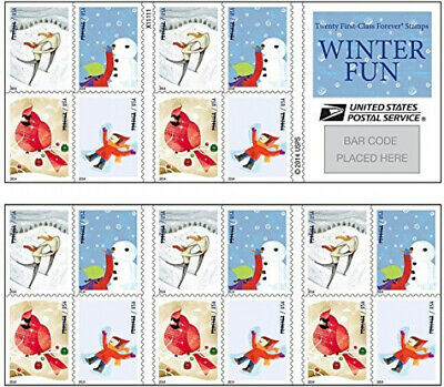 USPS Forever Postage Stamps Winter Fun Booklet of 20 20 stamps