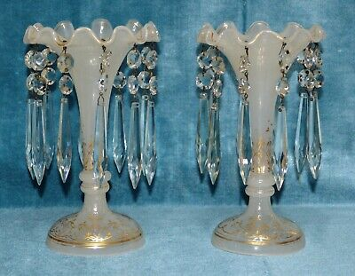 Antique Victorian White Opaline Fluted Glass Lustres with Crystal Droplets Pair