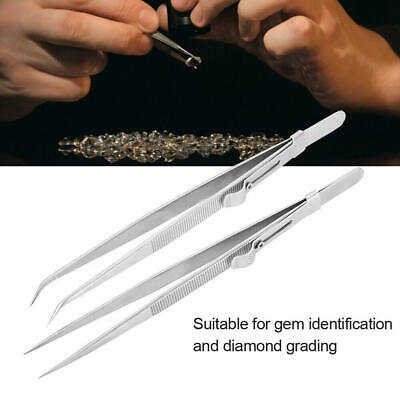 Diamond Gemstone Tweezers with side lock Indented Serrated Tips for craft
