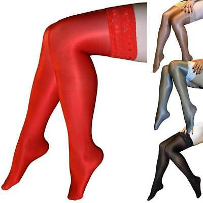 Women's Shiny Glossy Stretchy Thigh High Stockings Lace Silicone Hold Up Hosiery