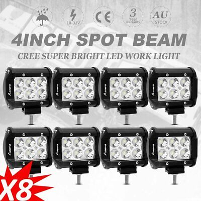 8x 4inch 30W LED Work Driving Light Bar Cree SPOT beam Lamp Reverse Offroad 4WD