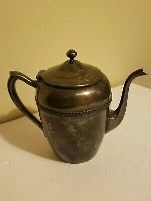 Antique FB Rogers Silver Plated Teapot Tea Pot with Hinged Lid Handle Spout 6 in