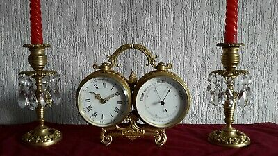 Antique Clock/Barometer with Candlestick Garnitures, Working.