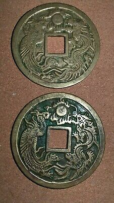 Chinese Dragon discs Charms coin inscriptions 6inch x 2 heavy