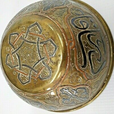 BOWL ANTIQUE HANDMADE BRASS & SILVER & COPPER BOWL MADE IN SYRIA 19th CENTURY