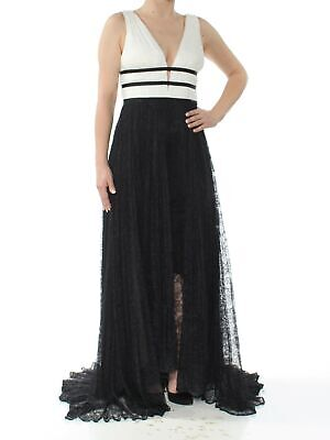 ADRIANNA PAPELL $279 Womens New 1111 Black Lace Gown V Neck Hi-Lo Dress 2 B+B