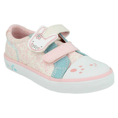Girls Clarks Gracie Bea Hook & Loop Kids Casual Trainer Infant Canvas Shoes Size