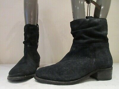 Next Black Suede Pull On Wide Fit Boots Booties Uk 6 Eu 39 (3427)