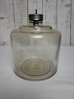 Vintage Kerosene Drip Glass Jar Reservoir Container/Dispenser Bottle