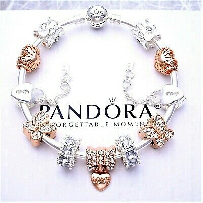 Authentic Pandora Charm Bracelet Silver with ROSE GOLD LOVE European Charms