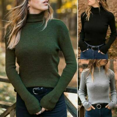 Sweater Casual Turtleneck Womens Long Sleeve Tops Winter Ribbed Slim Blouse Knit