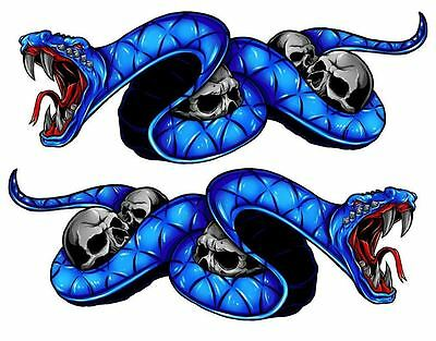 "Yamaha YZF R1 F6 FZ YZF600 Blue Snake Motorcycle Stickers 8"" Decals"