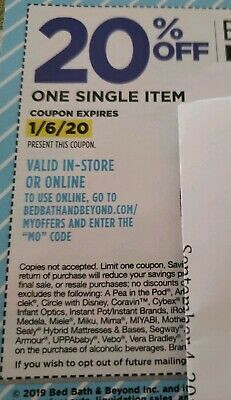 (5) Bed Bath & Beyond Coupons 20% OFF one single item Exp 1/6/20