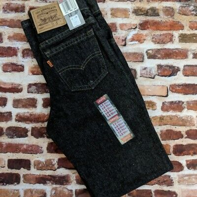 Vintage NOS Levi's Boy's 12 Slim 505 Jeans W 24 80s 90s Black Denim Orange Tab