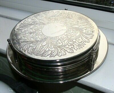 Set of 6 Silver Plated  Engraved Table Mats / Place Mats on Matching Stand
