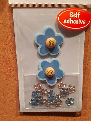 Blue Wooden Flower Craft Embellishments