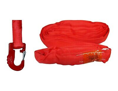 USA Domestic Endless Round Sling RED w/ HOOK COMBO Domestic Crane Wrecker Towing