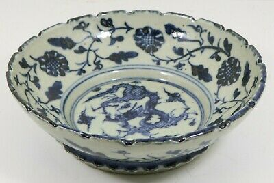 Antique Chinese Porcelain Dragon Bowl Ming 6 Character Mark