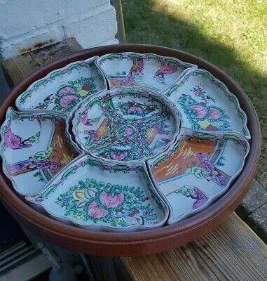 Chinese Famille Rose Rotating Porcelain and Wood 7-Sectioned Tray