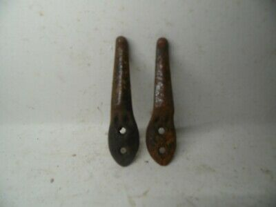 Antique Primitive Cast  Coat PLANT Hook Hardware SALVAGE  SET OF 2