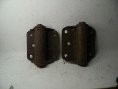 Vintage Antique Cast Iron Spring Loaded Door Hinge SET ESTATE FIND