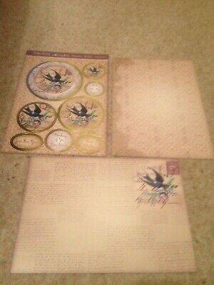 Hunkdory Kit -Vintage Swallow - Die Cut Topper Sheet & 2 Backing Cards