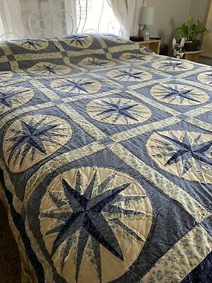 Antique Blue And White Farmhouse Floral Star Patchwork Quilt Full Size