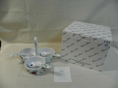 Princess House Orchard Medley Divided Condiment Serving Dish 3 Spoons New in Box