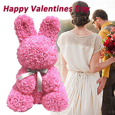 New Simulation Rose Bunny DIY Easter Flower Rabbit Anniversary Gift Animal Shape