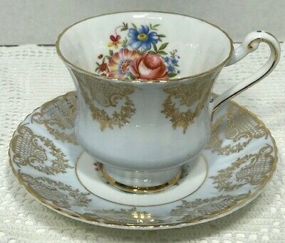 PARAGON Tea Cup and Saucer BLUE floral with lots of gold decoration MINT!  #2