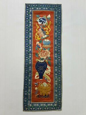Antique Chinese Silk Hand Embroidery Wall Hanging Panel 55x20cm