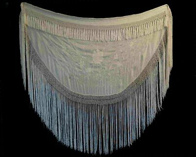 Antique Piano Shawl - Cream Silk Embroidered, Semi-Circular, Edwardian