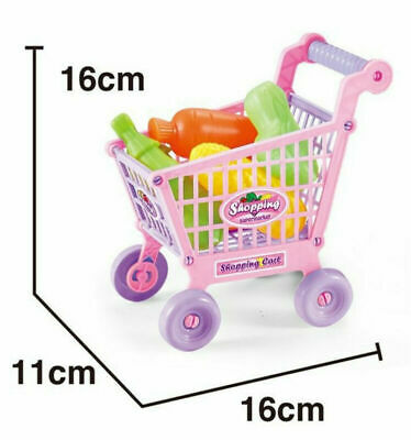 Kids Children Shopping Trolley Cart Role Play Set Toy Plastic Fruit Food Gift 1X