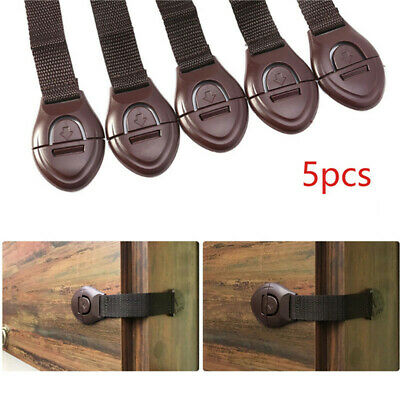 5 Child Baby Safety Adjustable Locks Straps Latches for Cupboard, Cabinet, Door