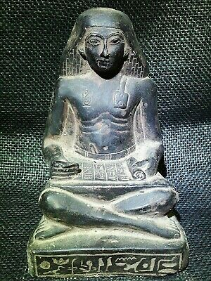 EGYPTIAN ANTIQUES ANTIQUITY Seated Squatting Scribe Statue Figure 1400-1356 BC
