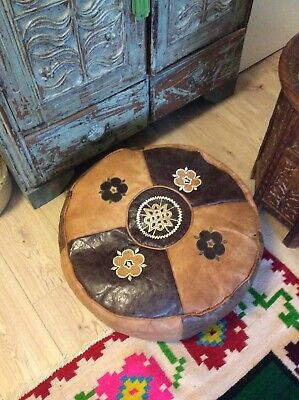 Vintage Genuine Leather Pouffe Footstool.
