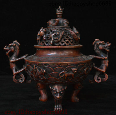 Ancient Chinese Bronze Pixiu Fish Beast Lion Head Fengshui Incense Burner Censer