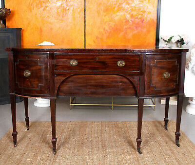 Antique Georgian Sideboard George III Flamed Mahogany Bowfront Credenza