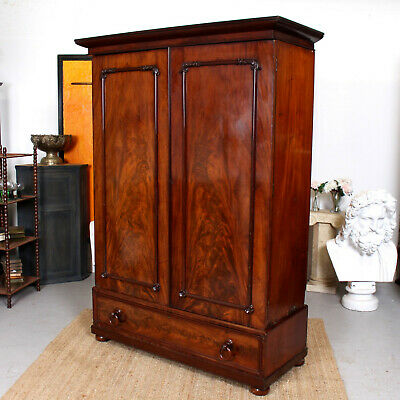 Antique Victorian Wardrobe Compactum Flamed Mahogany 19th Century Armoire