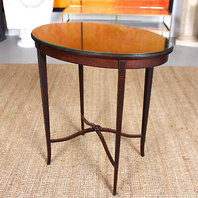 Antique Side Table Edwardian Mahogany Satinwood Console Table Glass Top