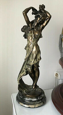 STUNNING Vintage FRENCH ART DECO BRONZE SEDUCTIVE LADY STATUE FIGURE MARBLE BASE