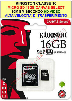 Kingston Micro Sd 16Gb 32 Gb 64 Gb 128Gb Class 10 Microsd Scheda Memoria Canavas