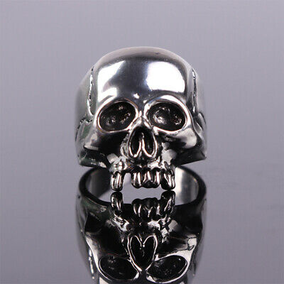 Vintage Gift Punk Jewelry Skull Ring Band Steel Rock Stainless Biker Men Gothic