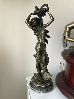 Stunning French Art Nouveau Bronzed Seductive Lady Statue Figure Marble Base